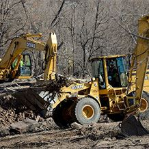 Construction Equipment Aiding in Recovery Efforts